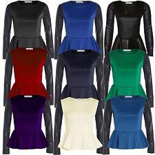 New Ladies Plus Size Shinny Wetlook Long Sleeve Peplum Waist Frill Skater Tops