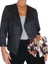 Womens Lurex Glitter and Floral Lightweight Short Jacket Open Front 10-20