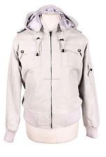 PILOT 6 White Men's Hooded Detachable Hood Real Soft Lambskin Leather Jacket