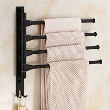 3 Layers Black Towel Holder Rack Movable Pole Bathroom Rotating Aluminum Alloy