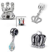 CORONA Regina Principessa Re Flag di cristallo - 925 argento Sterling Charm Perline solido