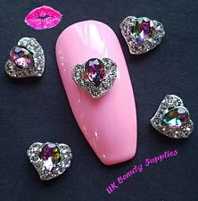 3D Nail Art Decoration GEMSTONE HEART Diamante Rhinestone Crystal Nail Charms