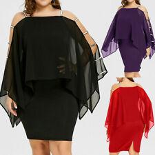 US Plus Size Women Ladder Cut Overlay Asymmetric Chiffon Strapless Chiffon Dress