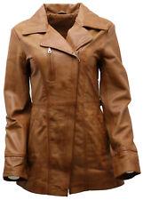 femmes foncé cuir nappa long veste motard avec ceinture