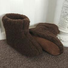 BROWNIE Pure Sheep Wool Boots Slippers Sheepskin Suede Sole Women's Ladies Mens