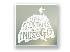 2 x The Mountains Are Calling Vinyl Sticker Hiking Ski Snowboarding #7062