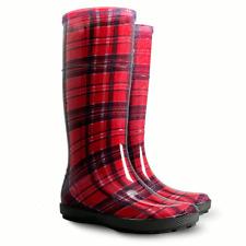 Women Wellington Boots Ladies Wellies Rain Boots Urban Style Tartan Red