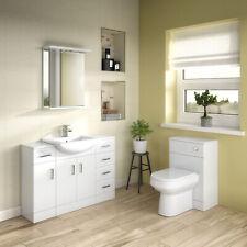 Mayford Gloss White Bathroom Furniture Vanity Cabinet Basin, Mirrors, WC Unit
