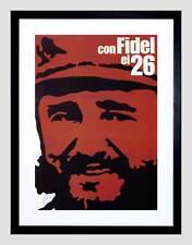 PROPAGANDA CUBA CASTRO FIDEL REVOLUTION BLACK FRAMED ART PRINT PICTURE B12X4453