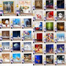 2PCS 3D Snowman Reindeer Xmas Tree Curtains Window Drapery for Christmas Decor