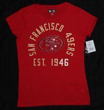 San Francisco SF 49ers Womens NFL Team Apparel Shutout Rhinestone Scarlet Tshirt