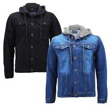 Boy's Kids Classic Button Up Removable Hood Slim Fit Stretch Denim Jean Jacket