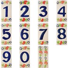 Numeri Civici Numero Civico in Ceramica con Fiori 14x7 cm