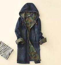womens navy blue denim jacket coat hooded denim hoody trench parkas outwear