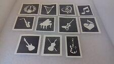 Music theme stencil for glitter tattoos / airbrush (mix) guitar sax violin piano