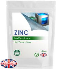Zinc 50mg - 30/60/90/120/180 tabletas (pelo, Piel Uñas, Inmune Salud), Reino Unido (V)
