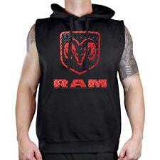 New Men's Dodge Ram Logo Black Sleeveless Vest Hoodie Offroad Trucks Classic Car