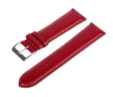 Uhren Lederarmband Echtleder Rot LLB 60 Glattleder Armband Leder Weiß