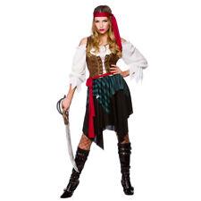 Señoras para mujer piratas del Caribe Pirata Vestido Elaborado Disfraz De Halloween