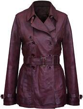Women's 3/4 Brown Lamb Genuine Leather Retro Vintage Nappa Trench Jacket Coat