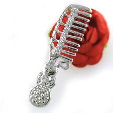 Hair Brush Comb Stylist Clear Crystal Costume Brooch Pin High Polish Silver Tone