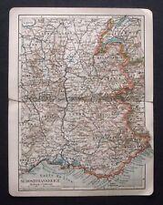 Antica Mappa Topografica.SUD FRANCIA-NIZZA 1907.Meyers.