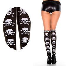 Opaque Knee High Socks Stockings Black/White Skull Crossbone Striped Nylon Socks