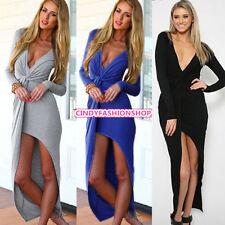 New women sexy Deep V-Neck Split Long Sleeve Maxi Party cocktail Dress Clothin