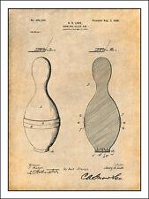 1896 Bowling Pin Patent Print Art Drawing Poster 18X24