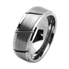 9mm Tungsten Ring Multiple Diagonal Grooves Brushed Dark Rough Matte Satin Band