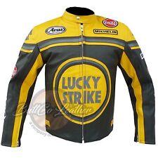 Lucky Strike 0113 Motorcycle Motorbike Biker Racing Yellow Leather Armour Jacket