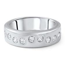 Sterling Silver Flush Set CZ Unique Wedding Band Fashion Ring
