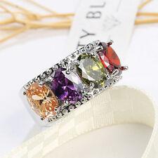 Xms Flower Multi Natural Amethyst Peridot Garnet Gemstone Silver Ring Size 6-10