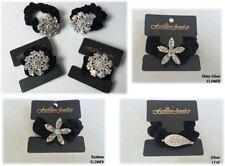 2 Sparkly Diamante Crystal Black Hair Scrunchie Velvet Bobble Hair Tie Bands