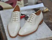 Zapatos De Vestir De hombre hecho a mano blanco punta del ala Brogue Zapatos Hombres Estilo Formal Zapatos para hombre
