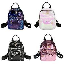 Women Girl Sequins Leather Backpack Small Travel Shoulder Bag Schoolbag Rucksack