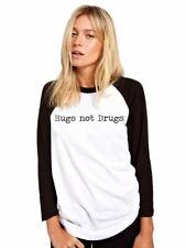Hugs Not Drugs Baseball Top - Funny Hipster Base Ball Tee Girls Shirt