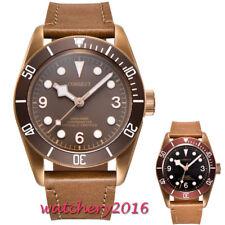41mm corgeut Braun dial Date Saphirglas miyota Automatische movement men's Watch