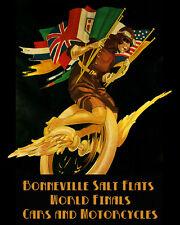 "Car Motorcycle Bonneville Salt Flats 16""X20"" Vintage Poster Ship Rolled FREE S/H"