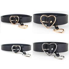 Women Ladies Metal Heart Buckle Belt Faux Leather Jeans Dress Waist Band Belts