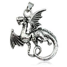 Anhänger 316L Edelstahl Medieval Drache Dragon Halskette silber Herren Damen