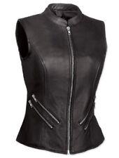 Very Sexy Womens Ladies Real Leather Black Bikers Waistcoat Vest (W9)