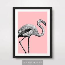 PINK FLAMINGO ART PRINT POSTER Animal Colourful Colorful Pop Bright Illustration