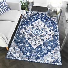 Blue White Gray Rug Bijar Southwestern Diamond Print Vintage Distressed Carpet