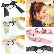 2Pcs Satin Ribbon Bow Hair Band Rope Scrunchie Ponytail Holder Noble Cute Gift