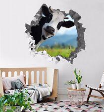 3D Black Cow 9 Wall Murals Stickers Decal breakthrough AJ WALLPAPER AU Kyra