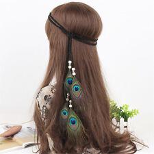 Boho Hippie Headband Peacock Feather Hair Band Rope Knitted Hairband Headband