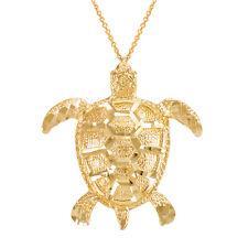 Yellow Gold Vertical Textured Lucky Hawaiian Honu Sea Turtle Pendant Necklace