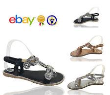 Womens Ladies Flat Diamante Summer Flip Flops Evenin Summer Sandals Shoes Sizes