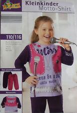 Kleinkinder-Motto-Shirt Popstar Baumwolle Größe 98/104 oder 110/116 NEU & OVP